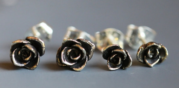Tiny sterling silver rosebud earrings