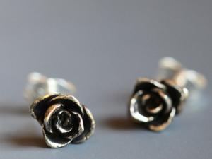 Tiny sterling silver rosebud earrings