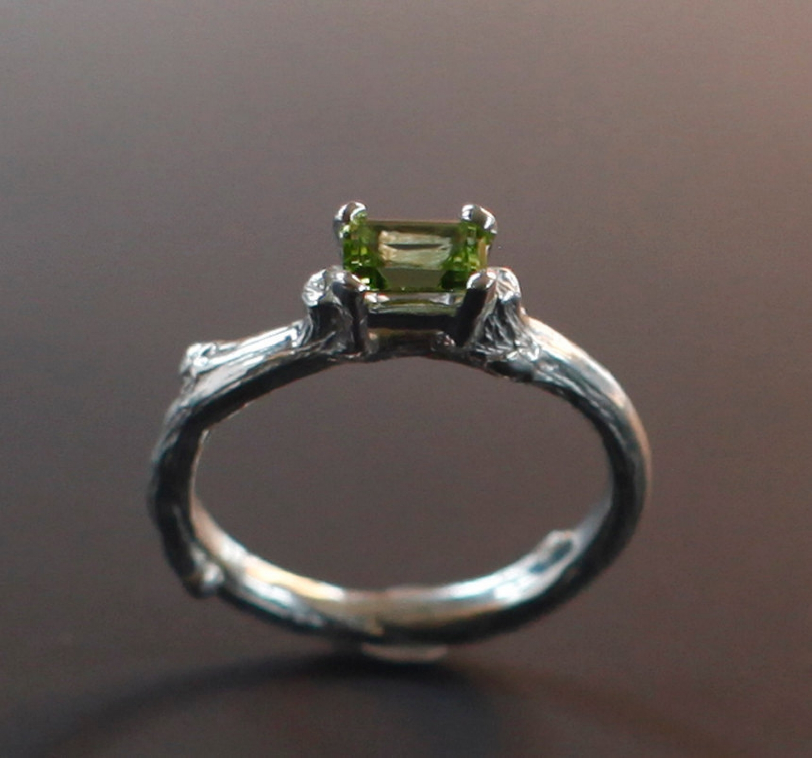 sterling solitaire iacua rings twig product ring engagement peridot silver p