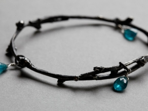 Spring Twig Bangle with Apatite