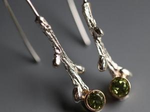 Spring Peridot Twig Earrings