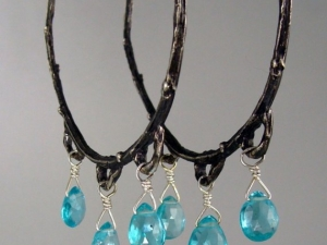 Spring Twig Hoops with Apatite drops