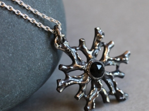 Winter Coral Medallion with Black Onyx