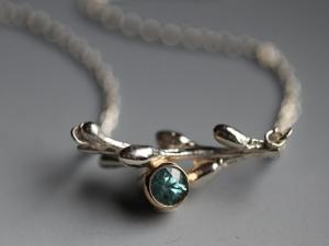 Spring Blue Zircon Twig Necklace